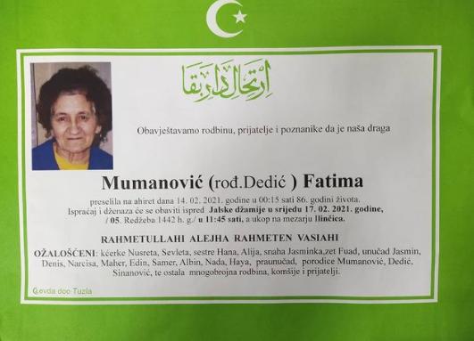 Preminula je Fatima Muminović
