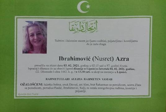 Preminula je Azra Ibrahimović