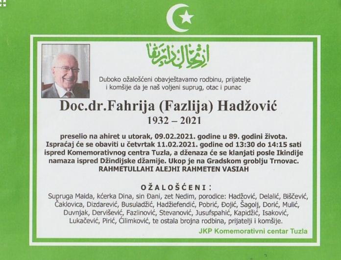 Doc.dr. Fahrija Hadžović