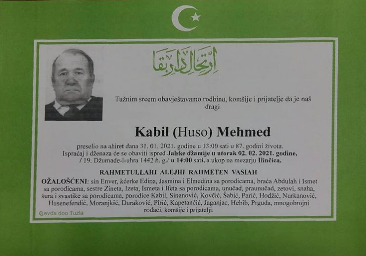 Preminuo je Kabil Mehmed