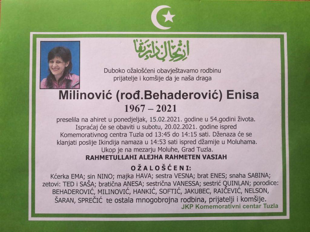Preminula je Enisa Milinović