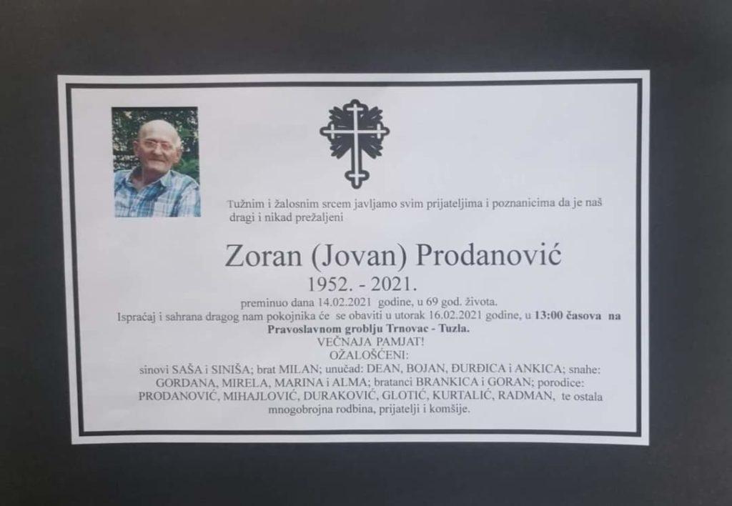 Preminuo je Zoran Prodanović