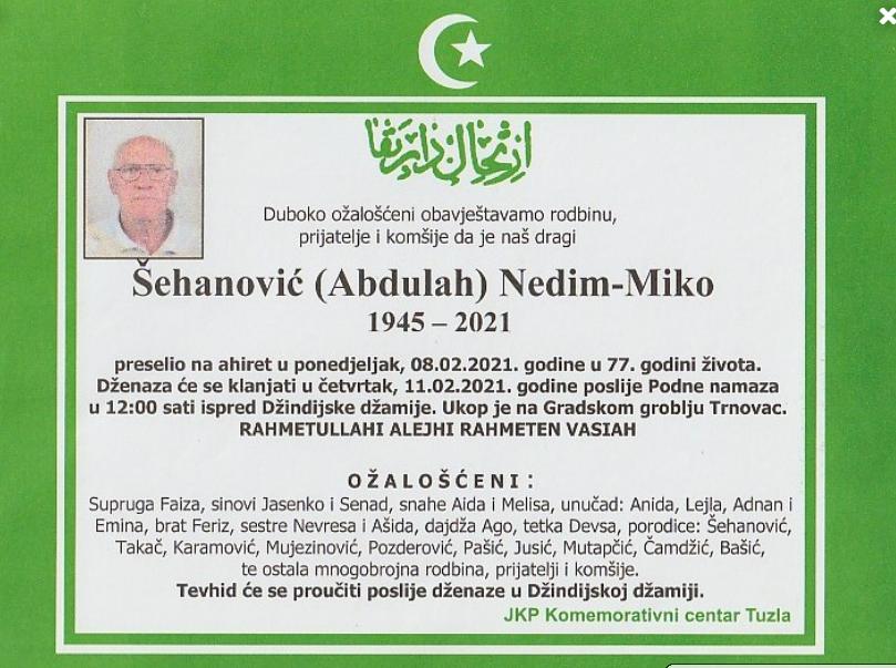 Preminuo je Šehanović Nedim - Miko