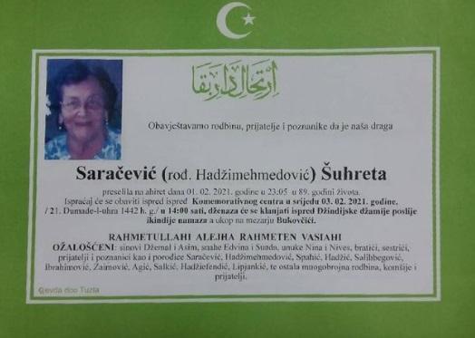 Preminula je Šuhreta Saračević
