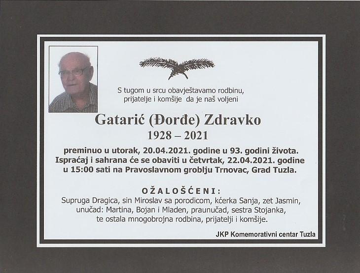 Preminuo je Gatarić Zdravko