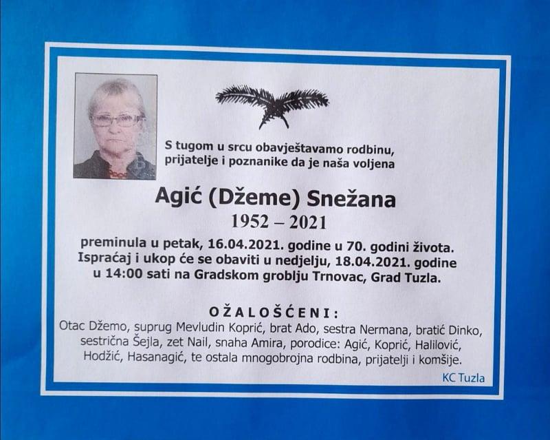 Preminula Snežana Agić