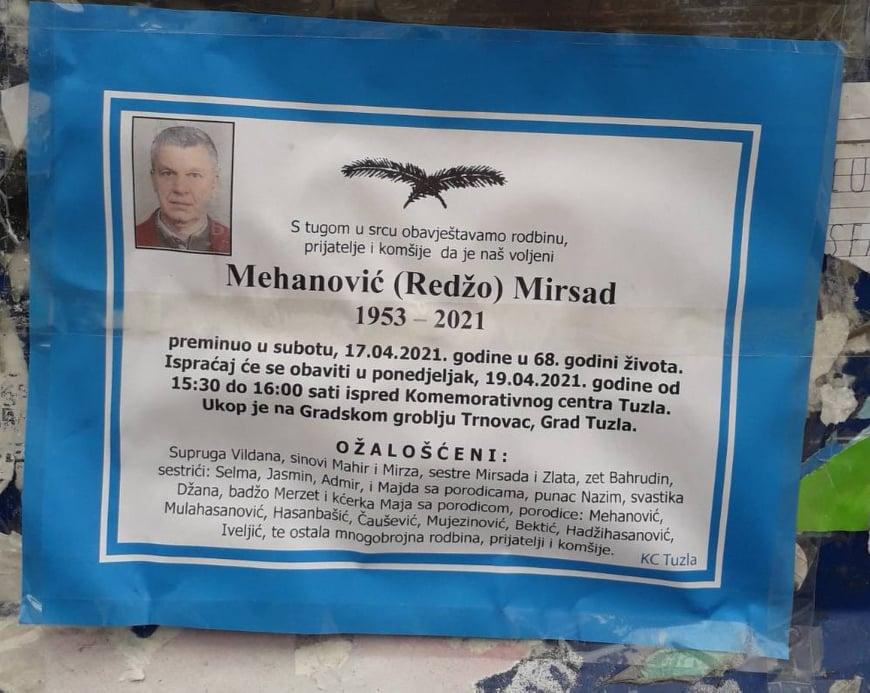 Preminuo Mirsad Mehanović