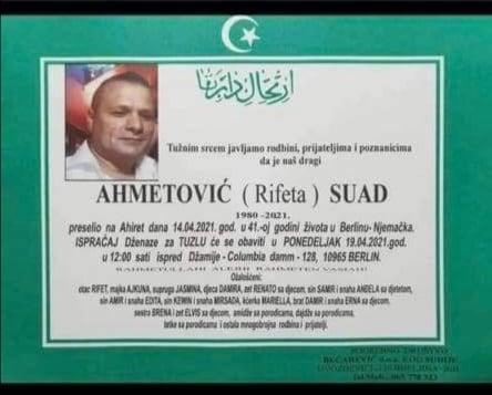 Preminuo Ahmetović Suad