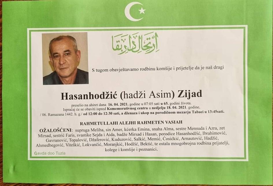 Preminuo Hasanhodžić Zijad