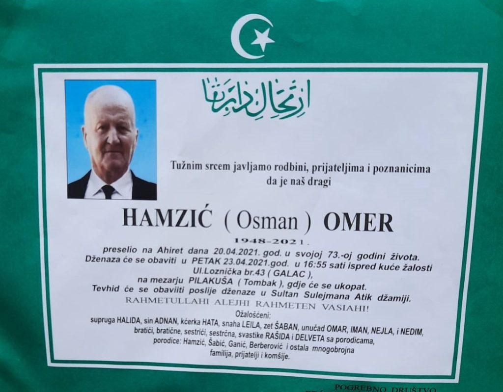 Preminuo je Hamzić Omer