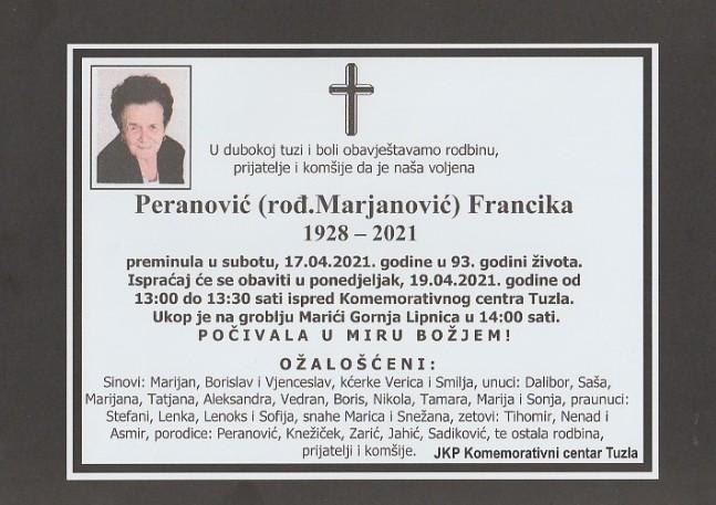 Preminula je Peranović Francika