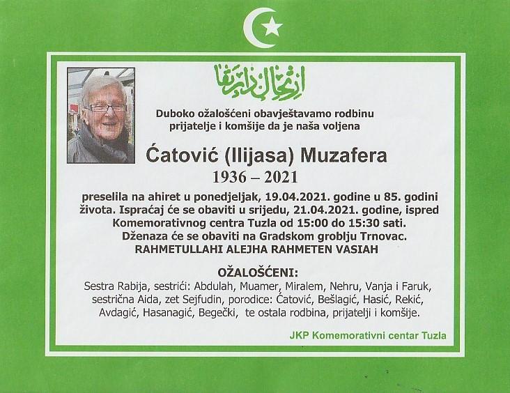 Preminula je Ćatović Muzafera