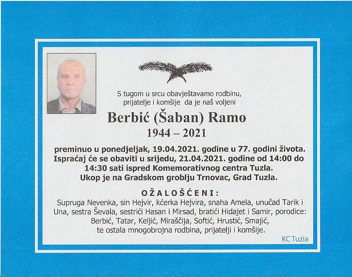 Preminuo je Berbić Ramo