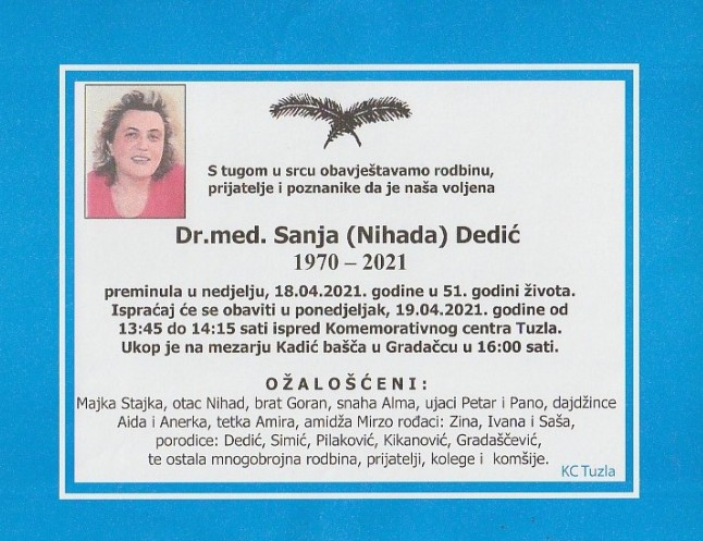 Preminula je Dr.med. Sanja Dedić
