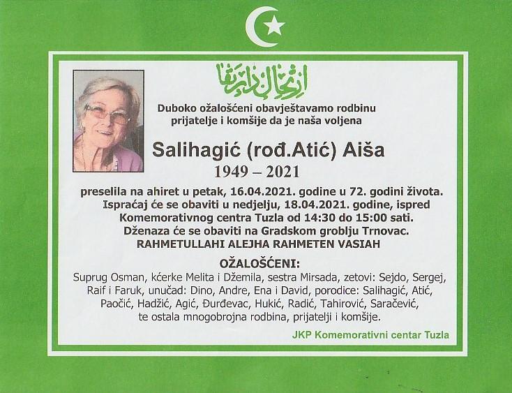 Preminula je Salihagić Aiša