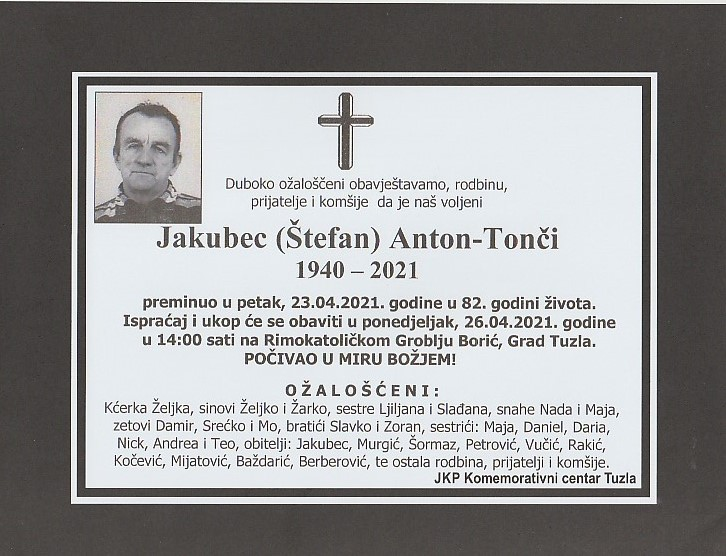 Preminuo je Jakubec Anton-Tonči
