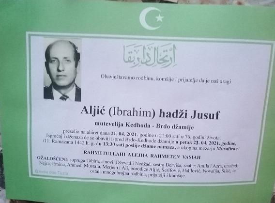 Preminuo je Jusuf hadži Aljić