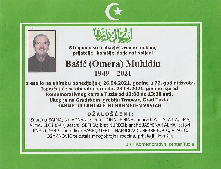 Preminuo je Muhidin Bašić