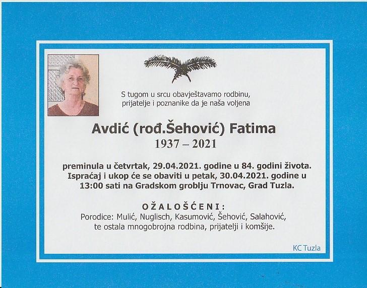 Preminula je Fatima Avdić