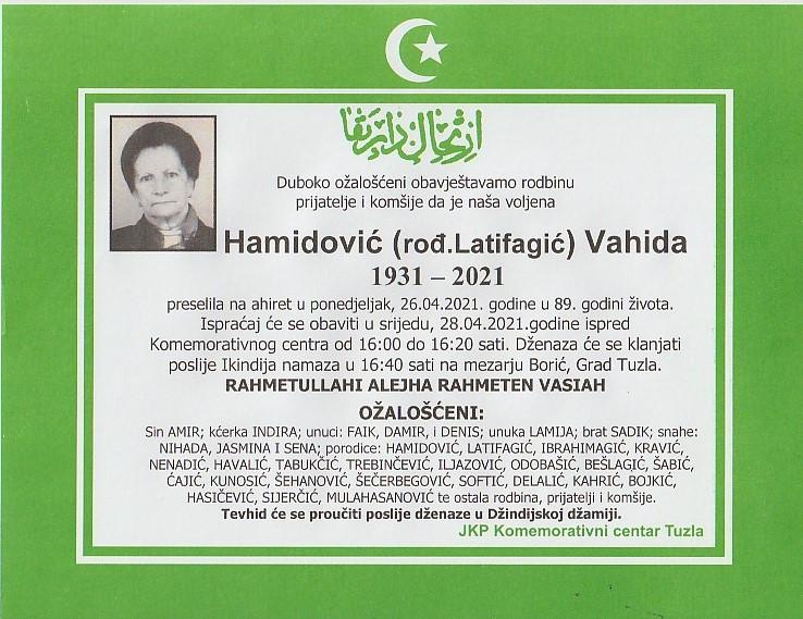 Preminula je Vahida Hamidović