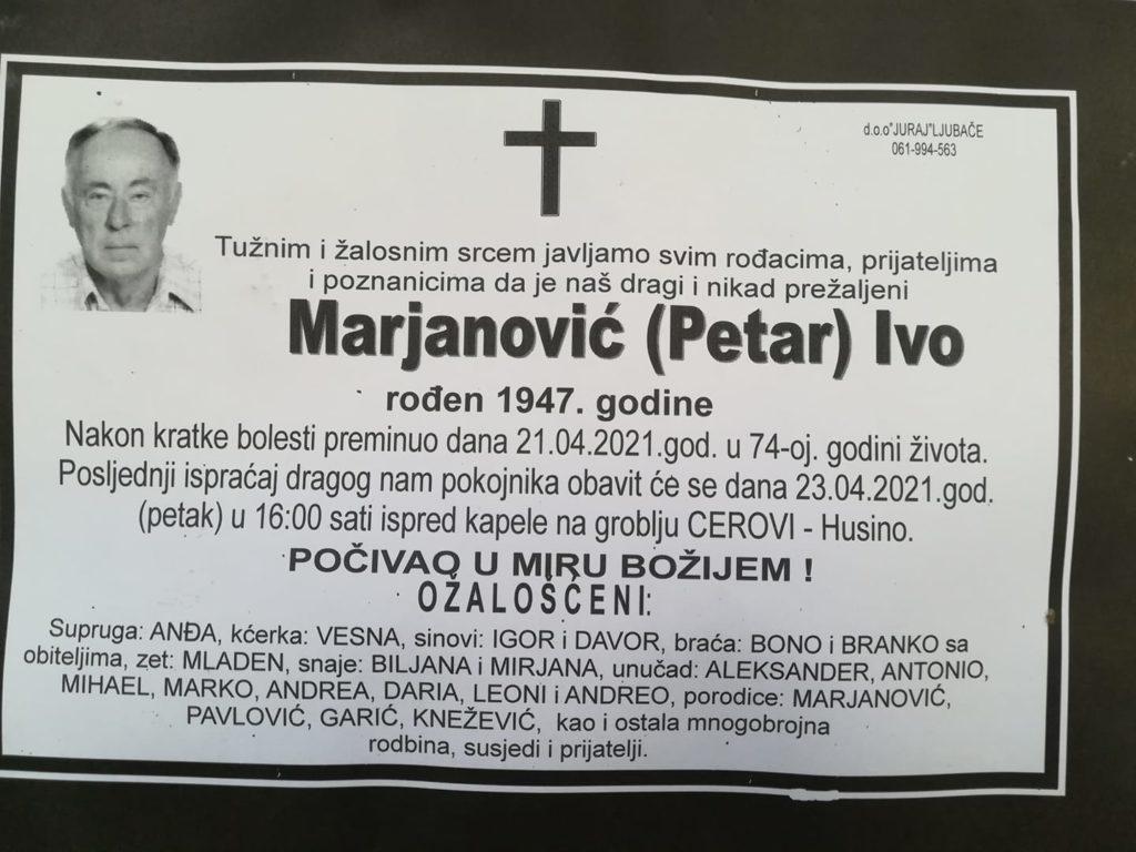 Preminuo je Ivo Marjanović