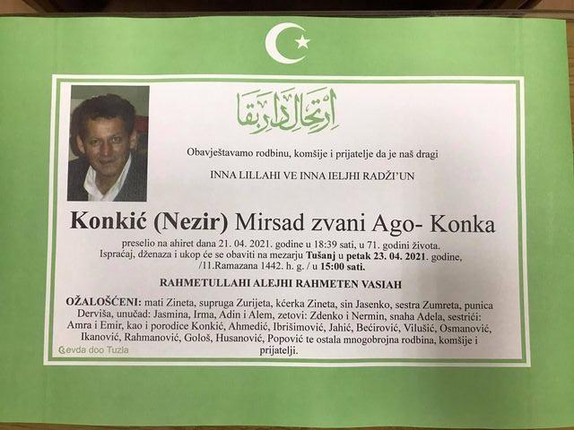 Preminuo je Mirsad Konkić - Ago Konka