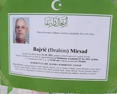 Preminuo Bajrić Mirsad