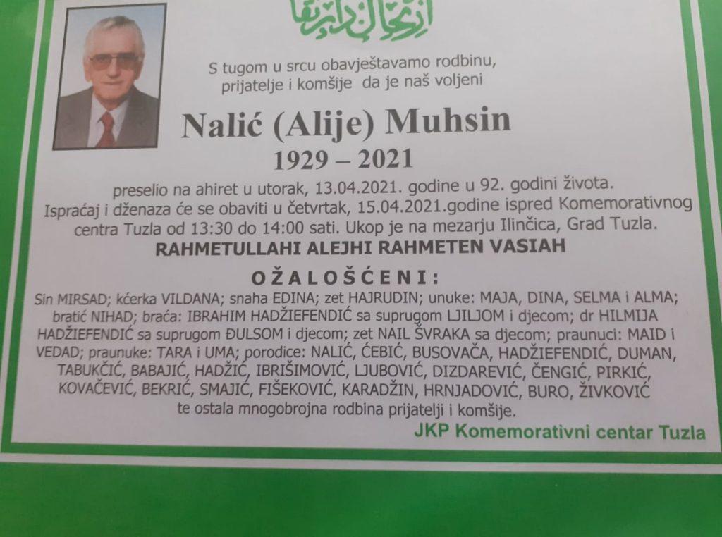 Preminuo je Muhsin Nalić