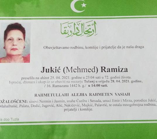 Preminula je Ramiza Jukić