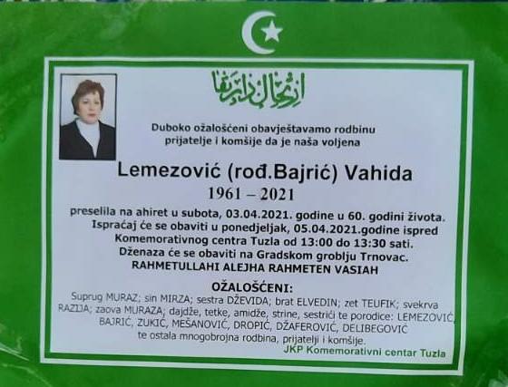 Preminula Lemezović Vahida