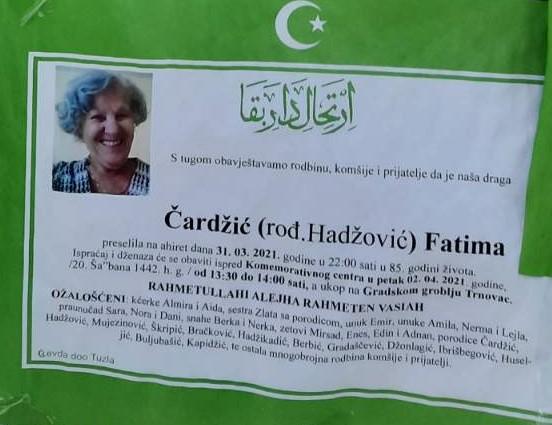 Preminula je Čardžić Fatima