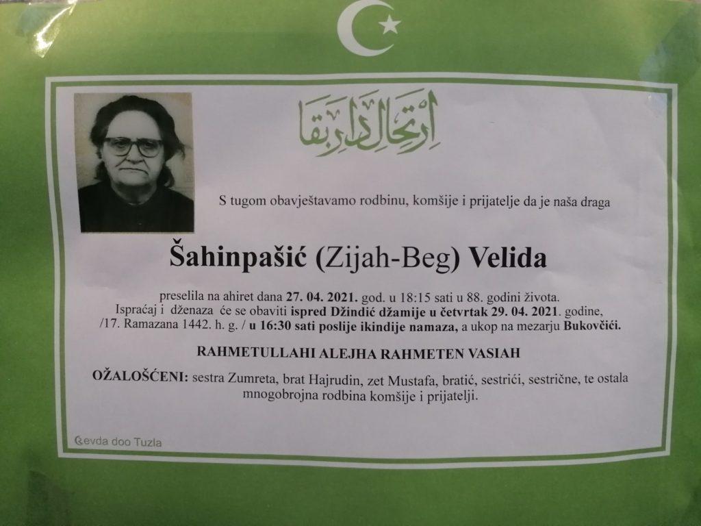 Preminula je Velida Šahinpašić