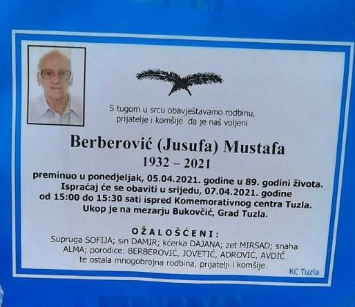 Preminuo Berberović Mustafa