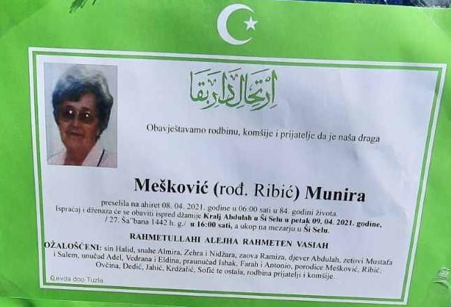 Preminula je Mešković Munira