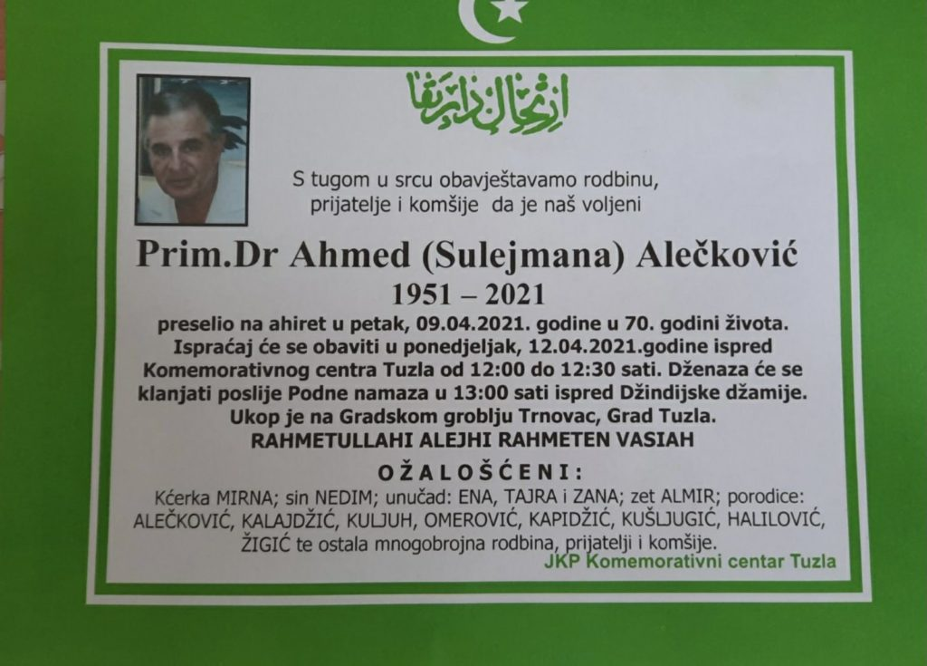 Preminuo prim. dr. Ahmed Alečković