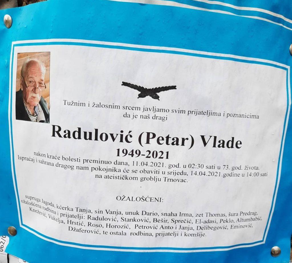 Preminuo je Radulović Vlade
