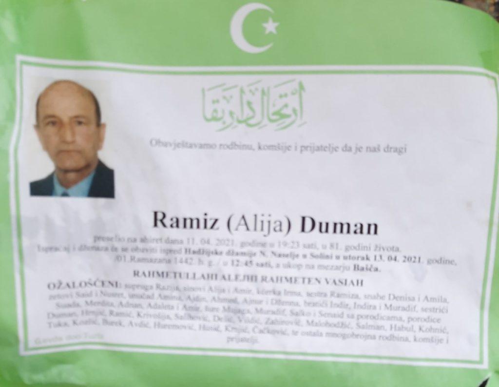 Preminuo je Ramiz Duman