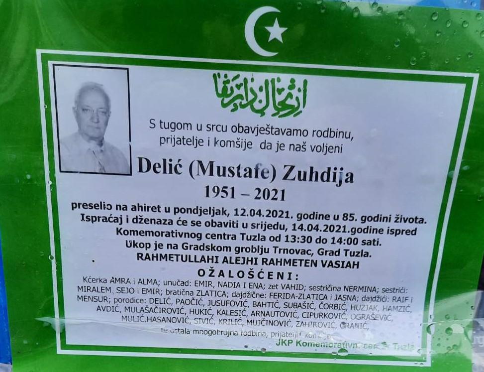 Preminuo je Delić Zuhdija