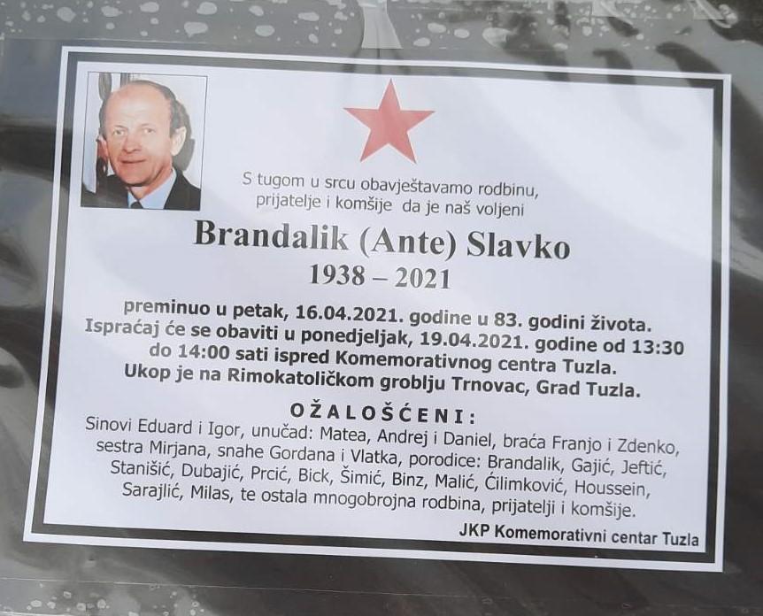 Preminuo je Brandalik Slavko