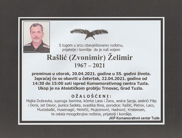 Preminuo je Želimir Rašlić