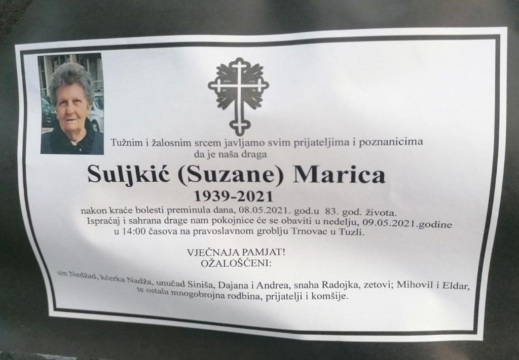 Preminula je Suljkić Marica