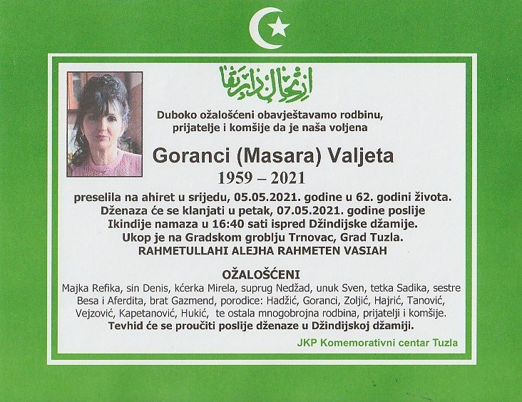 Preminula je Valjeta Goranci