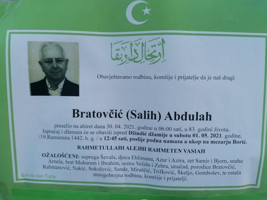 Preminuo je Abdulah Bratovčić
