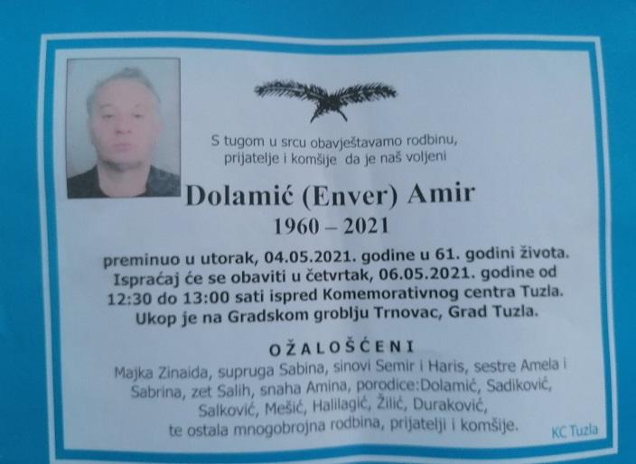 Preminuo je Amir Dolamić