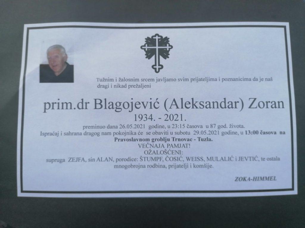 Preminuo je prim. dr. Zoran Blagojević