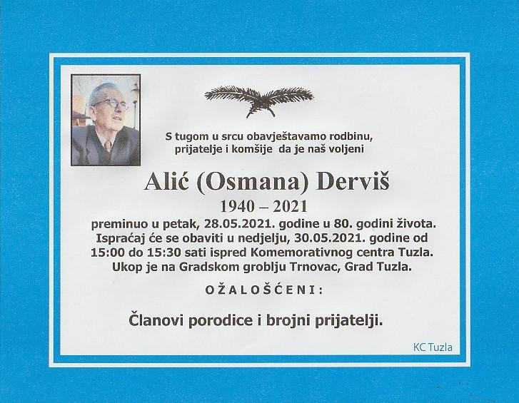 Preminuo je Derviš Alić
