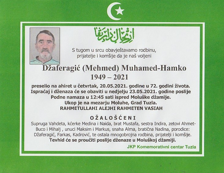 Preminuo je Muhamed Hamko Džaferagić