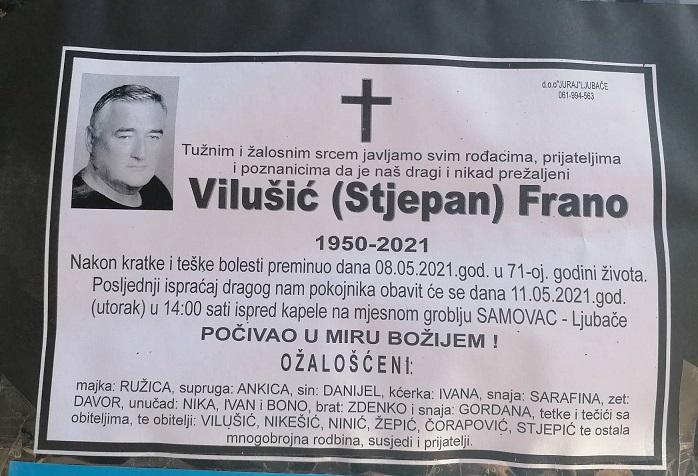 Preminuo je Frano Vilušić