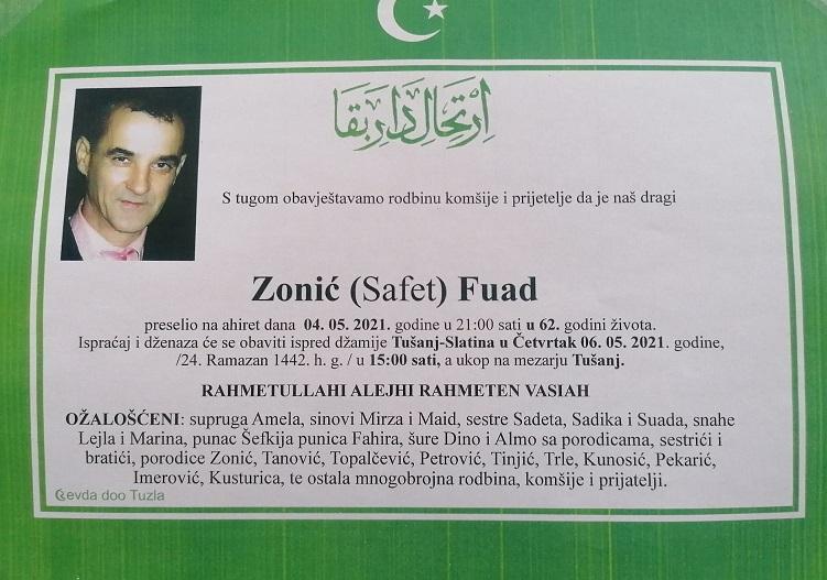 Preminuo je Fuad Zonić