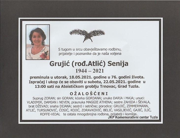 Preminula je Senija Grujić